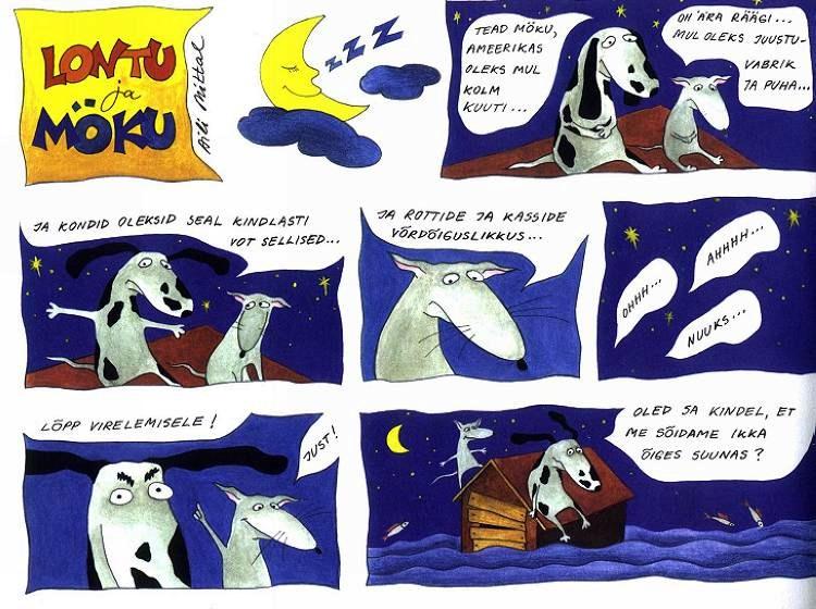 Koomiks Lontu ja Möku randavad, 2000. Joonistas Aili Mittal