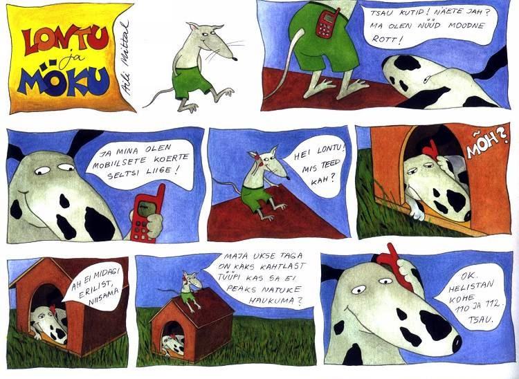 Koomiks Lontu ja Möku on moodsad, 2000. Joonistas Aili Mittal