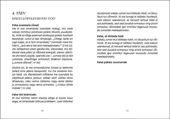 Noveen Josemaria Escriva eestkostel - Töö. Küljendus Grafilius OÜ