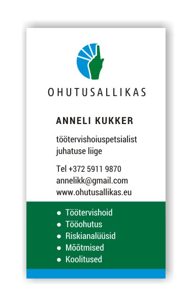 Ohutusallikas OÜ visiitkaart, kujundus Grafilius OÜ