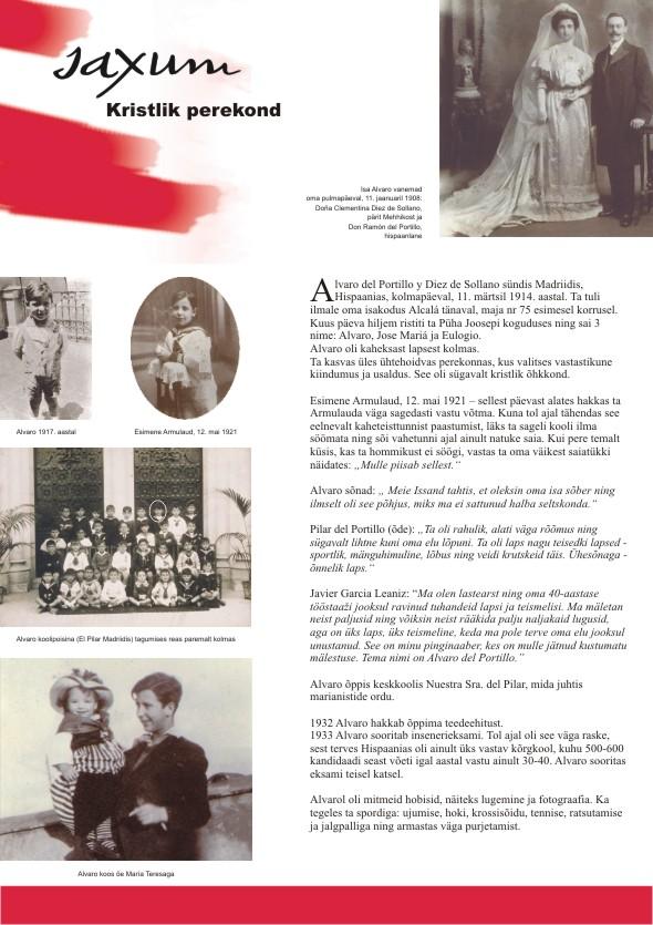 Alvaro del Portillo 100. sünniaastapäeva tähistav plakatite sari, 2. osa. Kujundanud Aili Mittal-Jõgiste