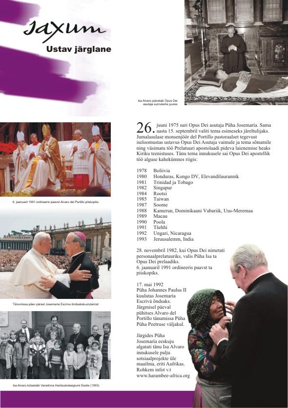Alvaro del Portillo 100. sünniaastapäeva tähistav plakatite sari, 5. osa. Kujundanud Aili Mittal-Jõgiste