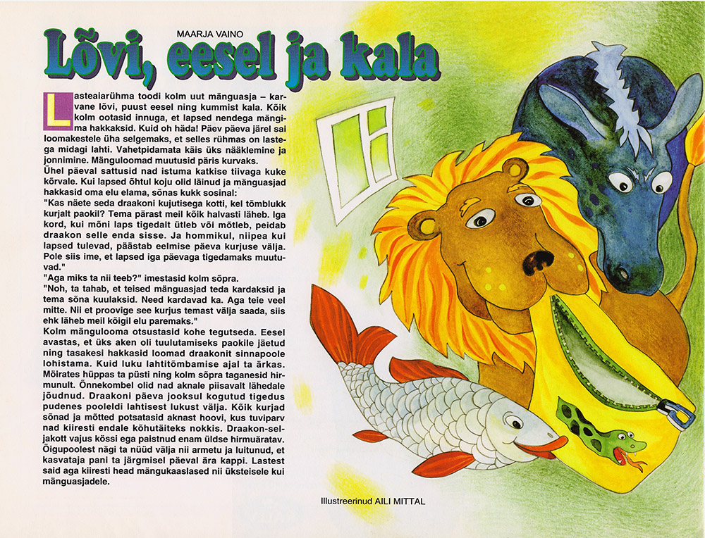 Childrens magazine Täheke, September 2001, illustration Aili Mittal