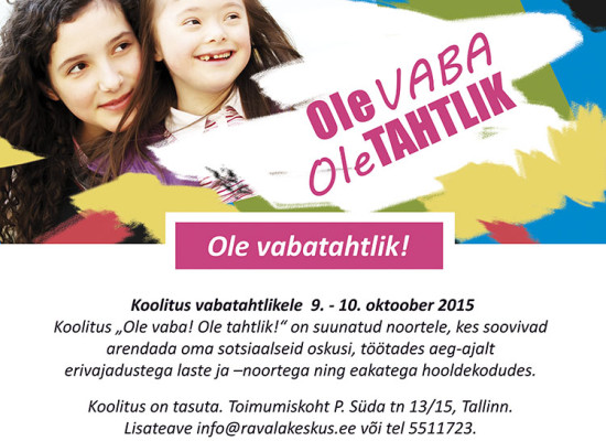 """Non-profit organisation Loometaru's project """"Ole vabatahtlik!"""""""