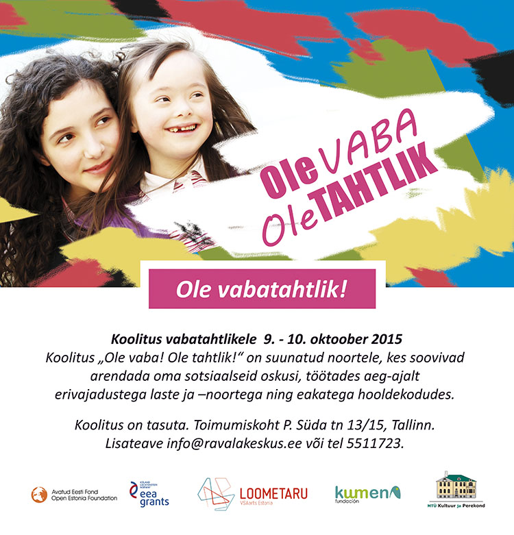 "Advertisement for non-profit organisation Loometaru's project ""Ole vabatahtlik!"" Design Grafilius OÜ"