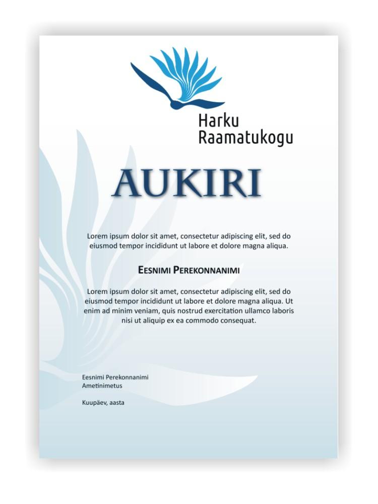 Certificate of honour for Harku Raamatukogu. Design Grafilius OÜ.