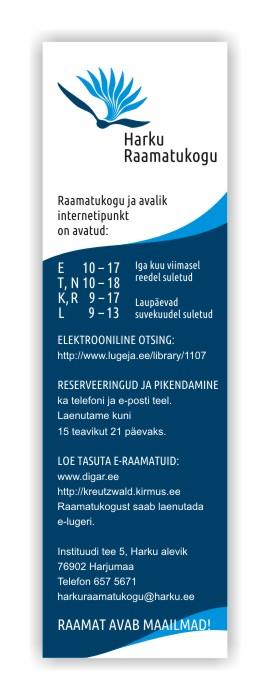 Bookmark for Harku Raamatukogu. Design Grafilius OÜ