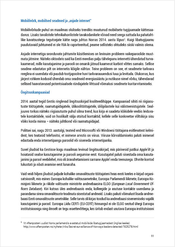 RIA Cyber Security Branch 2014 Annual Report, page 11. Layout Grafilius OÜ