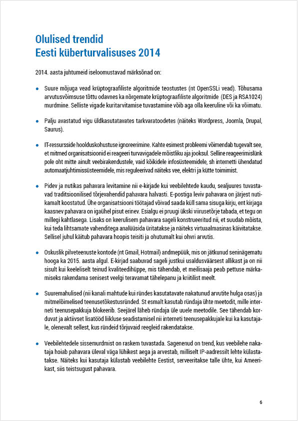 RIA Cyber Security Branch 2014 Annual Report, page 6. Layout Grafilius OÜ