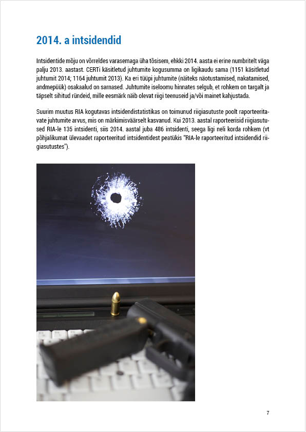 RIA Cyber Security Branch 2014 Annual Report, page 7. Layout Grafilius OÜ