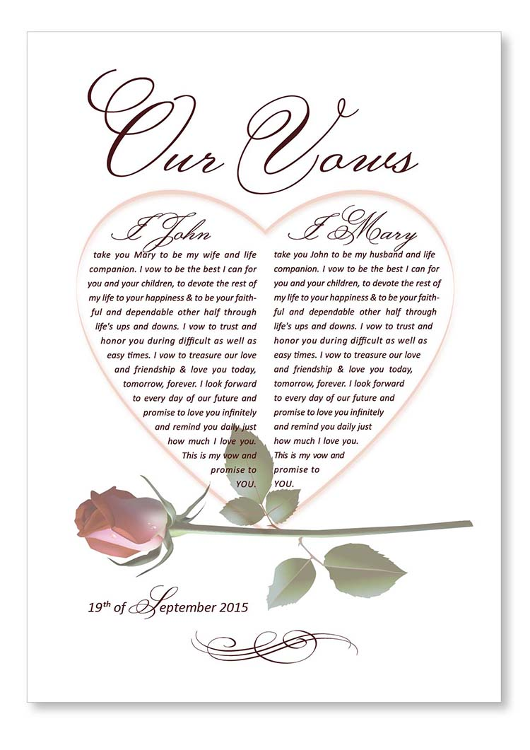 Wedding vows. Design Grafilius OÜ