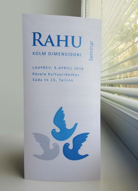 Seminar Rahu kolm dimensiooni, voldiku kujundus Grafilius OÜ