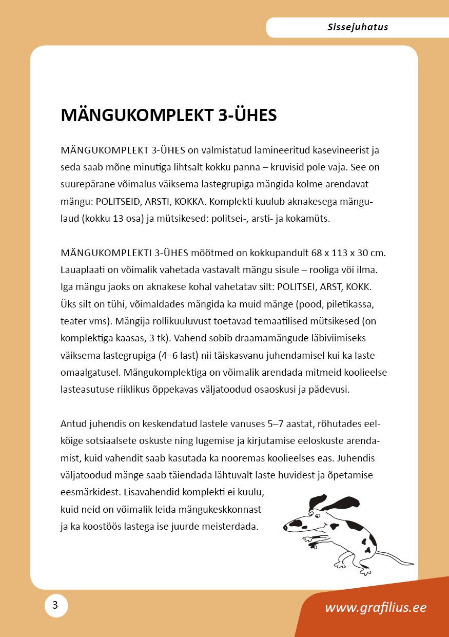 Mängukomplekt 3-ühes juhendmaterjal. Grafilius OÜ / TLÜ, lk 3
