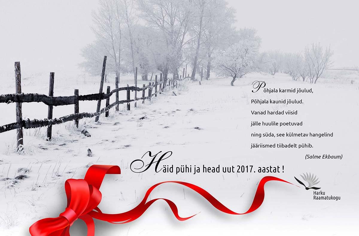 Harku Raamatukogu elektrooniline jõulukaart 2016-2017, kujundus Grafilius OÜ
