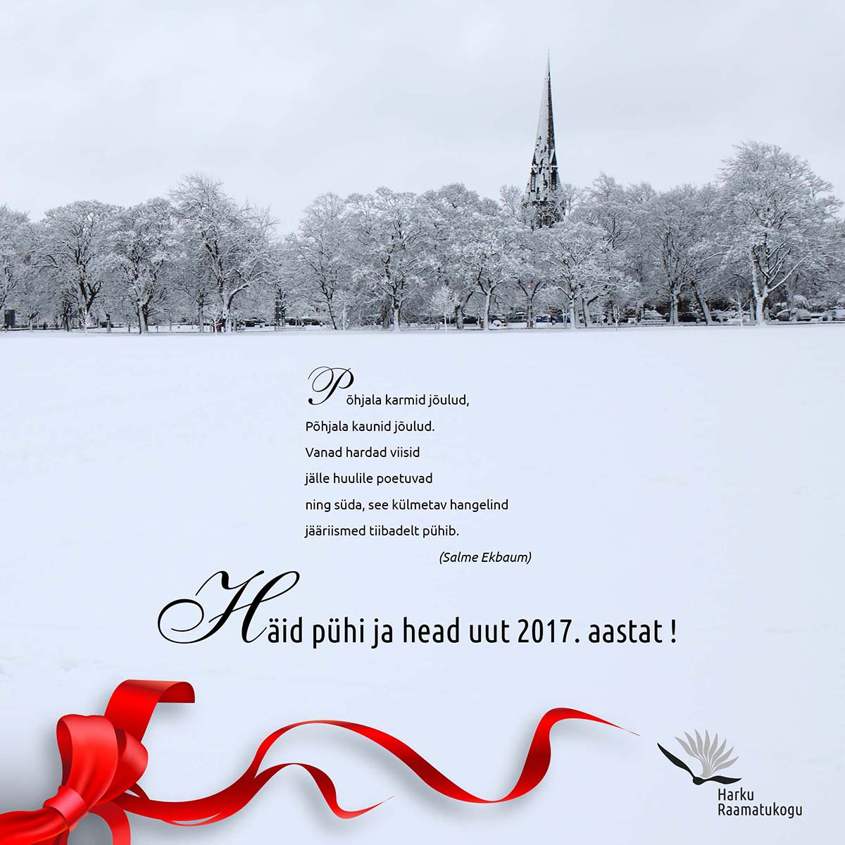 Christmas card for Harku Library 2016-2017, design Grafilius OÜ